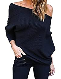 Women's Off One Shoulder Loose Casual Knit Sweater Fleece Slouchy Sweatshirt