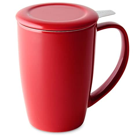 FORLIFE Curve Tall Tea Mug with Infuser and Lid 15 ounces, Red