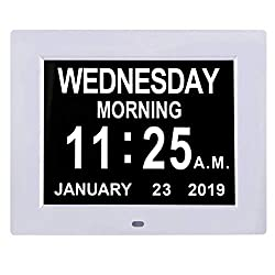 TMC [Newest Version] 8 Digital Calendar Day Clock - Extra Large Impaired Vision Memory Loss Clock with Battery Backup & 12 Alarm Options (White1)