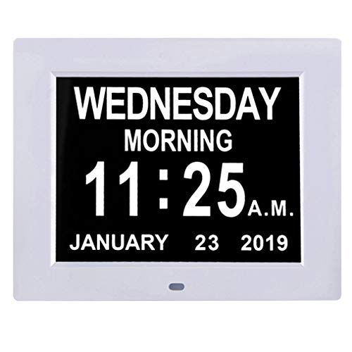 "TMC [Newest Version] 8"" Digital Calendar Day Clock - Extra Large Impaired Vision Memory Loss Clock with Battery Backup & 12 Alarm Options (White1)"