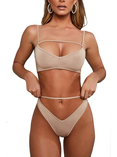 MOPOOGOSS Ladies Plus Size High Cut High Waisted Swimsuit Sexy V Neck Underboob Spaghetti Strap Slim Fit Two Piece Bikini Swimwear Khaki Medium