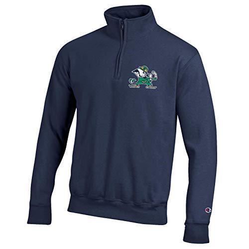 Champion NCAA Men's Powerblend Cotton-Poly 1/4 Zip Pullover-Notre Dame Fighting Irish-Navy-XL