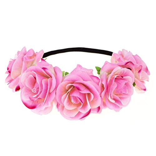 DreamLily Rose Flower Crown Wedding Festival Headband Hair Garland Wedding Headpiece (1-Light pink)