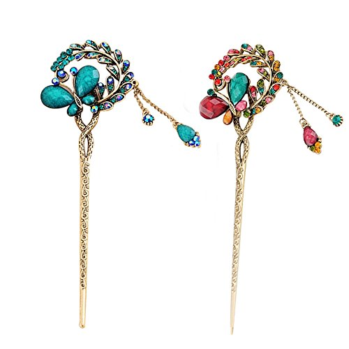 Pack of 2 Rhinestone Hair Stick Vintage Hair Chopsticks Hairpin Chignon Pin,  3D Butterfly Leaves Add Pendant, Decor with Pretty Stone (Blue and Colorful)