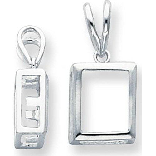Sterling Silver Emerald Cut Pendant Setting 8mm (Cut 8mm Setting Pendant Emerald)