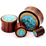Pair of Sono Wood With Crushed Turquoise Stone Inlay - 0g - 8mm - Sold As a Pair