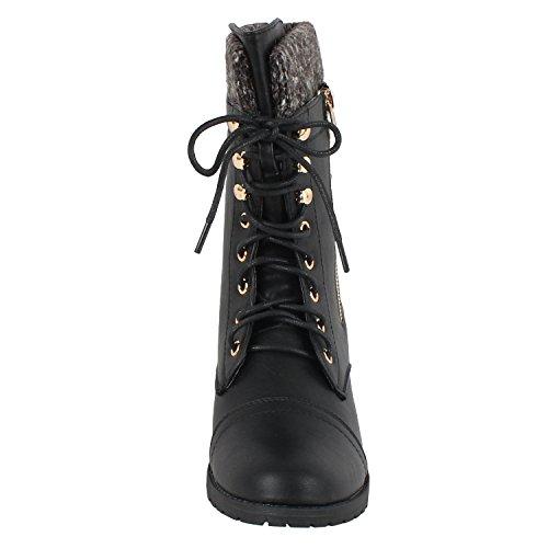 Forever Link Womens Mango-31 Runde Zehe Military Lace Up Knit Knöchel Manschette Low Heel Combat Boots Pu Schwarz