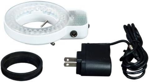 OMAX 7X-45X Zoom Binocular Single-Bar Boom Stand Stereo Microscope with 64 LED Ring Light