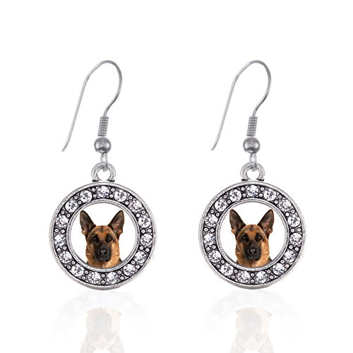 (Inspired Silver - German Shepherd Face Charm Earrings for Women - Silver Circle Charm French Hook Drop Earrings with Cubic Zirconia Jewelry)