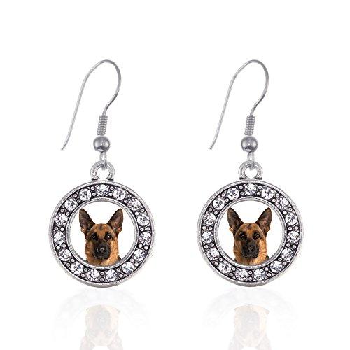 Shepherd Hook Earrings - Inspired Silver - German Shepherd Face Charm Earrings for Women - Silver Circle Charm French Hook Drop Earrings with Cubic Zirconia Jewelry