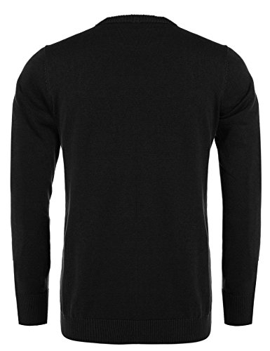 COOFANDY Men's Casual Slim Fit Crewneck Sweater Long Sleeve Basic Knitted Pullover Sweaters (L, Black) by COOFANDY (Image #2)