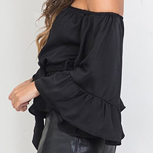 QHGstore Off hombro Ruffle Bow Blusa camisa suave raso Flare manga verano partido Tops Mujeres Blusas negro