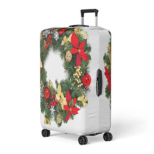 Pinbeam Luggage Cover Green Decorated Christmas Wreath White Advent Balls Branch Travel Suitcase Cover Protector Baggage Case Fits 26-28 inches