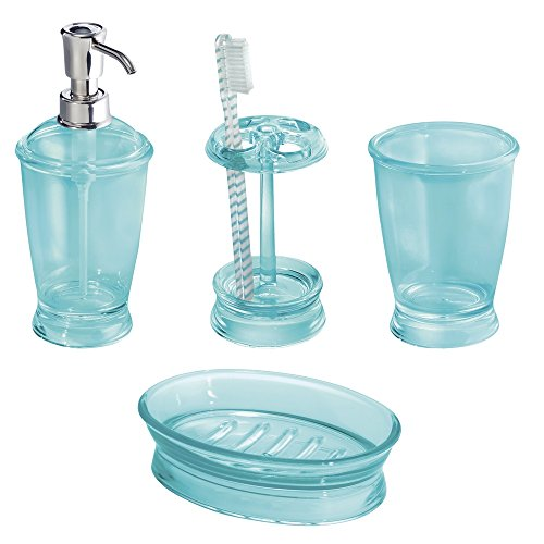 MDesign Bath Accessory Set, Soap Dispenser Pump, Toothbrush Holder,  Tumbler, Soap Dish   4 Pieces, Sand
