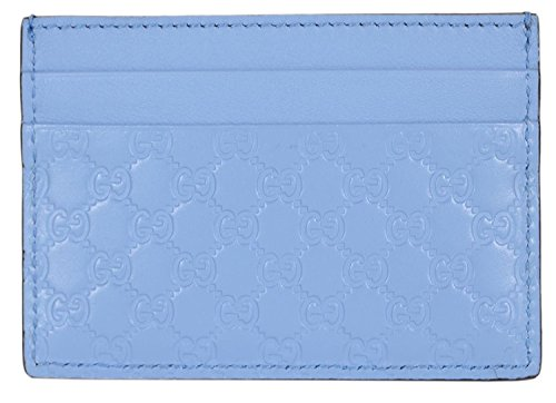 Gucci Women's Leather Micro GG Guccissima Small Card Case (Mineral Blue) ()