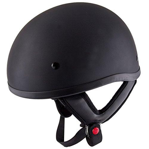 Flat Black Dot Helmet - Hustler DOT HT-1 Solid Flat Black Skull Cap Helmet with Hustler Logo On Back - Medium