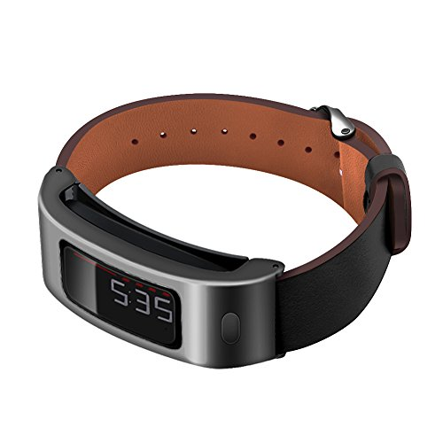 C2D JOY Metal Case with Bands Works with Garmin vivofit & vivofit 2 Replacement Bands Activity Tracker Leather Watch Band - Black Case with Black Leather Band, One Size