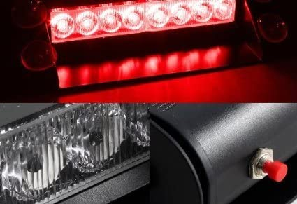 Dash Windshield Red and White 8 LED Warning Caution Car Van Truck Emergency Strobe Light Lamp For Interior Roof