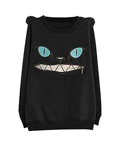 hqclothingbox Women Zip Mouth Smile Shoulder 3D Ear Cat Jumper Sweatshirt (Rosa Womens Muta Da Sub)