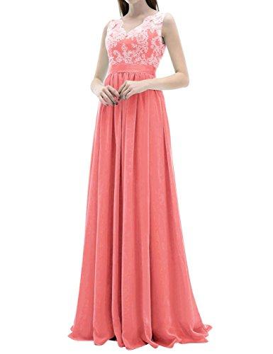 Ballkleider Abendkleider Hochzeitskleider Koralle Brautjungfernkleider Rückenfrei Chiffon Damen Lang RUx5Pq