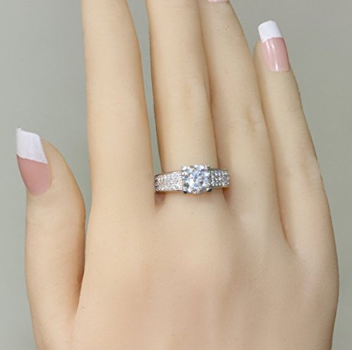 Gowe 2carat Nscd/Sona imitation diamant Bague de fiançailles pour femme