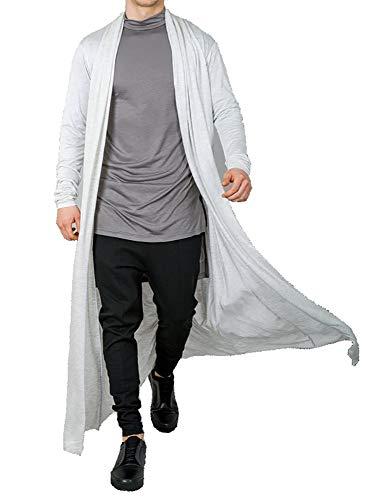 (Men's Ruffle Shawl Collar Cardigan Jackets Open Front Outerwear Cotton Long Drape Cape Poncho Trench Coat White)