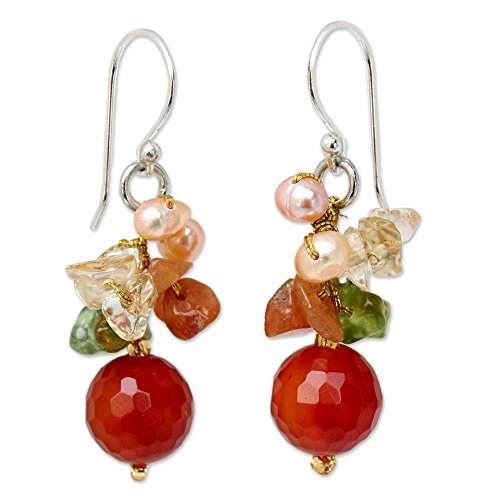 NOVICA Cultured Freshwater Pearl, Peridot, Chalcedony and Quartz Cluster Earrings, Radiant Love