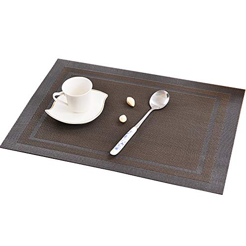 KOKAKO Placemats Washable Dining Table Place Mats PVC Kitchen Table Mats,Set of 4(Black+Brown)