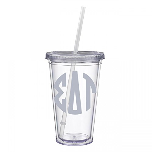 Sigma Delta Tau Sorority Silver No Border Monogram Sticker Decal on Clear plastic Tumbler Greek Letter 16 oz. BPA Free Sig - In Waterford Ct Stores