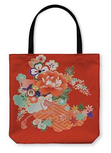 Gear New Shoulder Tote Hand Bag, Vintage Japanese Kimono Designs, 18x18, 103782GN