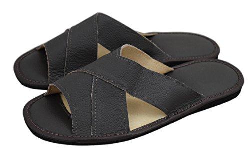 nero Leather Genuine Slippers Brown WOJCIAK Flip Sandals Soft Calf Nero uomo Sandali flop dPwwUIqt