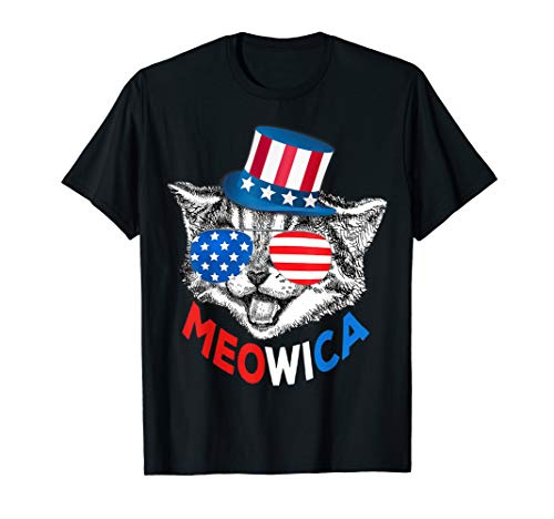 (Red White Blue Cat 4th of July Meowica T-Shirt American Flag)