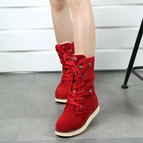 Shoes Comfort Toes Round Fashion Boots TM Up Flats Red Lace Mid Elevin calf Women Suede Ankle xP6qwSnXa