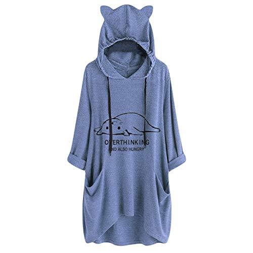 [해외]Thenxin Tunic Hoodies Sweatshirt for Women Long Sleeve Loose Irregular Hem Top Cute Cat Print Shirt / Thenxin Tunic Hoodies Sweatshirt for Women Long Sleeve Loose Irregular Hem Top Cute Cat Print Shirt(Blue-C,XXXXXL)