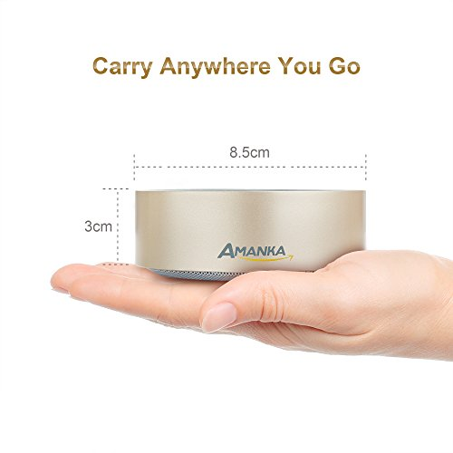AMANKA Ultra Portable Mini Wireless Bluetooth Speakers Audio TF Card Mobile Phone Hands-free Call Subwoofer, HD Sound and Bass, Gold