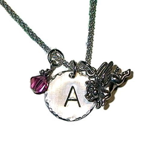 Flying Pig Hand Stamped Sterling Silver Initial Charm Necklace