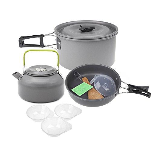 Lixada Aluminiumoxid Outdoor Camping Pot Set Picknick Kaffeekocher Set für 2-3 Personen