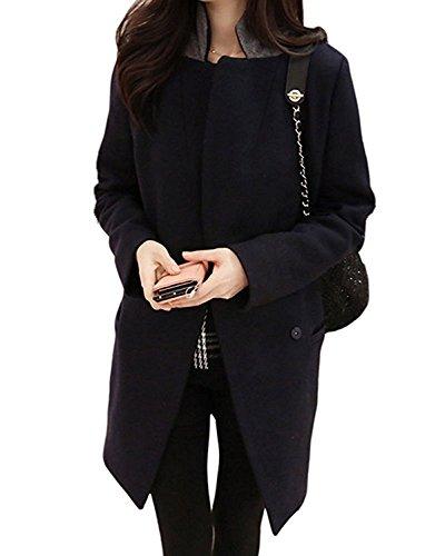 Collier Chaud Longue Foncé Femme Mode Bleu Minetom Suits Blazer Blousons Manteaux Overcoat Laine La Hiver 0BwESwq