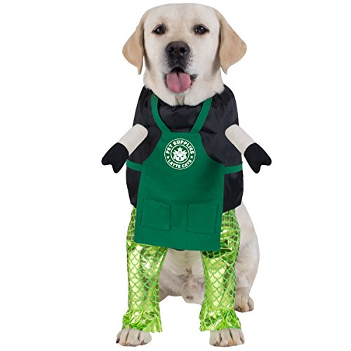 (FOMATE Dog Costume, Doggie Cosplay hat and Hair Accessories and Toy for Party and Events (Mermaid & Cafe Barista Apron Uniform)