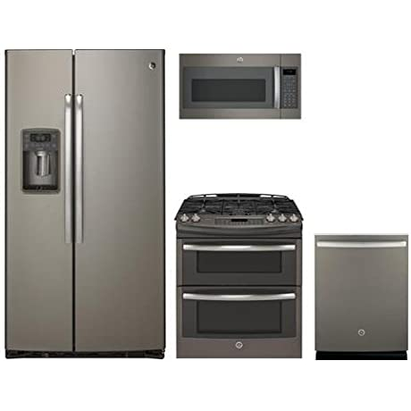GE Profile Slate Package With PZS22MMKES 36 Side By Side Refrigerator PGS950EEFES 30 Gas Range JVM7195EKES 30 Over The Range Microwave And PDT855SMJES 24 Dishwasher