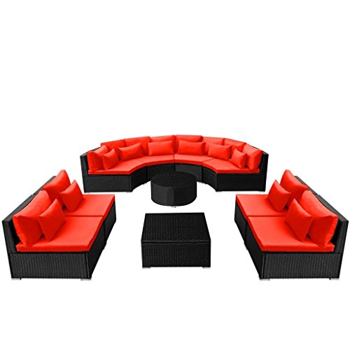 Festnight 11 Piece Outdoor Patio Sofa Conversation Set Poly Rattan Sectional Sofa with 3 Coffee Table Red Soft Cushions and Pillow Set Garden Backyard Balcony Furniture (Red)