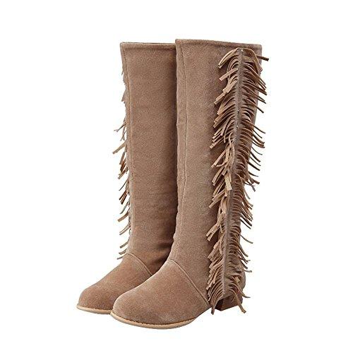 Carolbar Womens Plus Size Pull-On Tassels Autumn Low Heel Tall Boots Apricot 4K45NI1