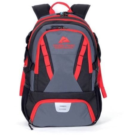 Ozark Trail 35L Choteau Heavy-duty Ripstop Material, Hydration-compatible, Multiple Storage Compartment, Daypack Backpack with 2 Water Bottle Pockets, Black/Red by