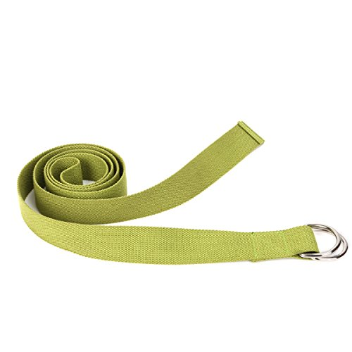 Fitness Exercise Yoga Strap w/ Adjustable (6ft, 8ft) Double Ring Buckle Made with The Best, Durable Cotton for Stretching, Flexibility, Yoga & Pilates Beginners