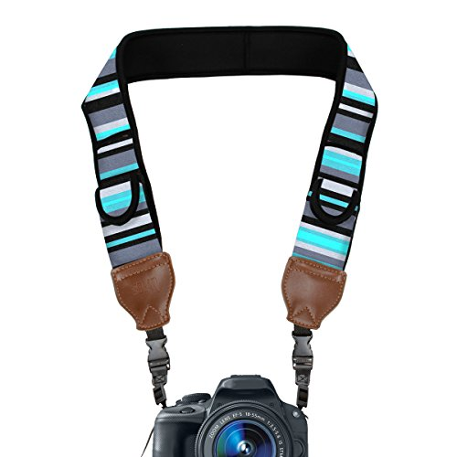 TrueSHOT Camera Strap with Blue Stripe Neoprene Pattern and