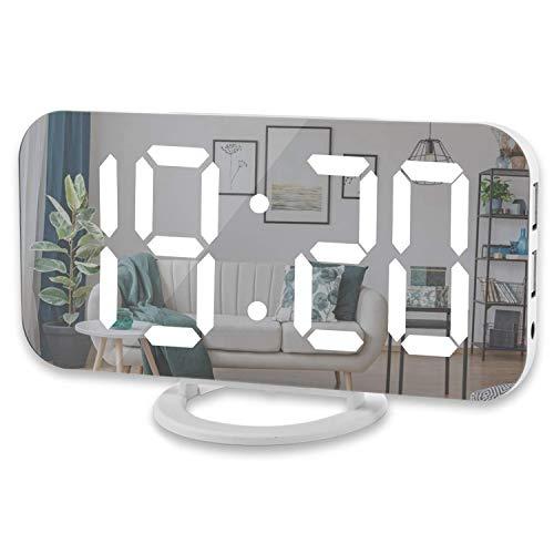 bobotron Digitale wekker, 6 inch groot led-display met twee USB-opladers, aansluiting autodimmer, modus, eenvoudige…