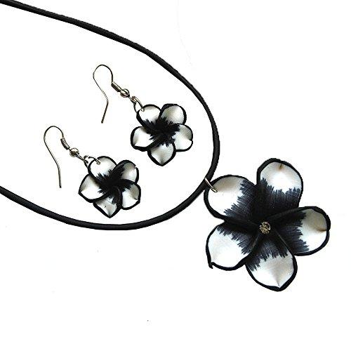Donau Women Plumeria Fimo Flower Jewelry Set Pendant Necklace - Jewelry Flower Necklace