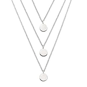 "Silpada Sterling Silver Descending Disc Layered Necklace, 16+2"" Extender"
