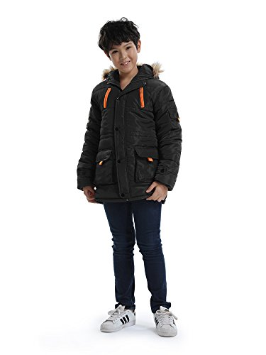 Big Boy's Winter Cotton Hooded Parka Outwear Coat with Faux Fur Trim Black Tag 130-51''(6-7Y) by OCHENTA (Image #2)