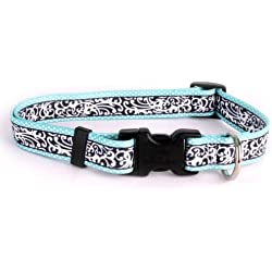 """Yellow Dog Design Chantilly Teal Dog Collar 3/8"""" Wide And Fits Neck 8 To 12"""", X-Small"""